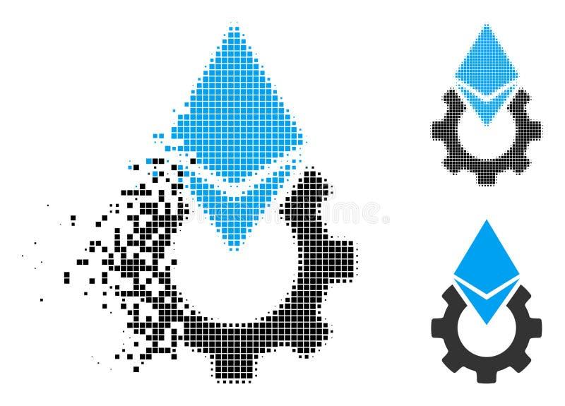 El pixel destrozado Ethereum de semitono equipa el icono del engranaje ilustración del vector