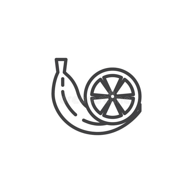 El plátano y las frutas anaranjadas alinean el icono stock de ilustración
