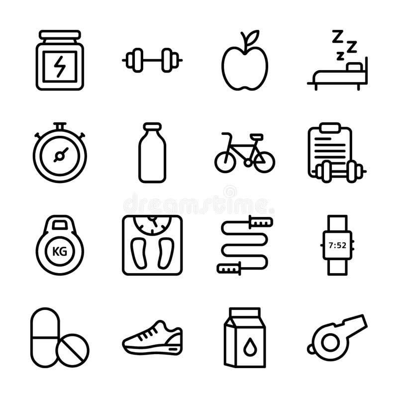 El plan de la dieta, deportes complementa, los iconos de la nutrición embala ilustración del vector