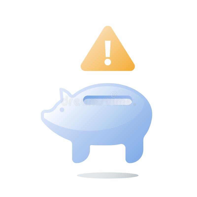 El plan del presupuesto, hucha de cristal vacía, invierte la mala gestión del fondo, dinero de la necesidad, gasto inesperado, pr stock de ilustración