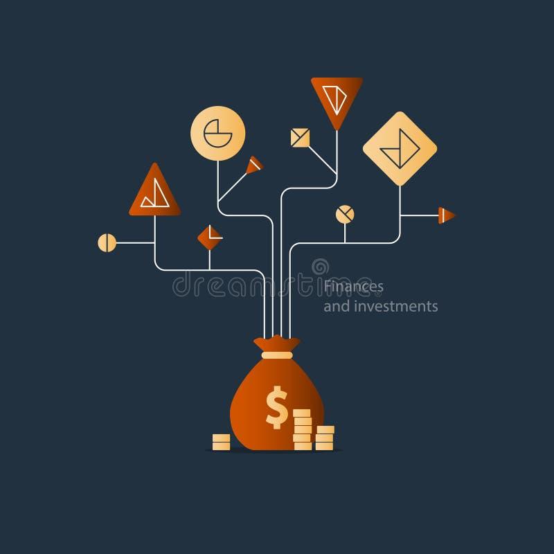 El plan empresarial, comienza para arriba la inversión, árbol de la educación de las finanzas, gestión de presupuesto libre illustration