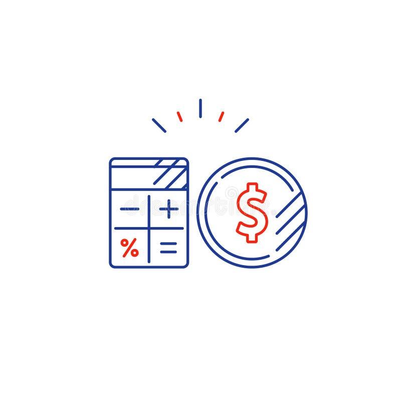 El plan empresarial, costos de la paga, calcula la línea icono del gasto del presupuesto libre illustration