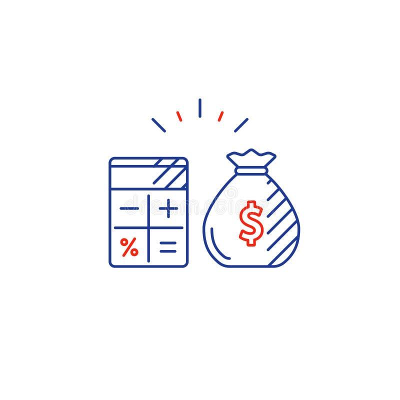 El plan empresarial, costos de la paga, calcula la línea icono del gasto del presupuesto stock de ilustración