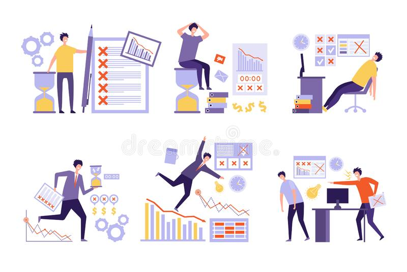 El plan falla Sobre tareas la mala gestión no organizó mucho a hombres de negocios de tiempo suplementario de trabajo del horario stock de ilustración