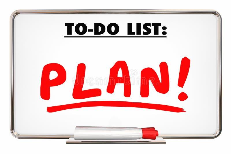 El plan para hacer prioridad de la palabra de la escritura de la lista organiza tareas stock de ilustración