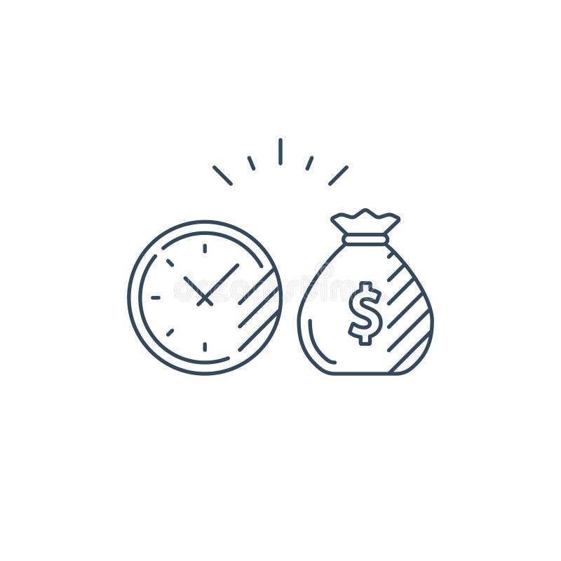 El plan, el tiempo y el dinero de inversión a largo plazo empaquetan la línea icono stock de ilustración