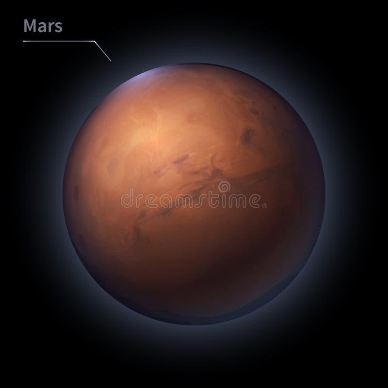 El planeta realista de Marte se aísla en el cielo cósmico en la oscuridad de la galaxia stock de ilustración