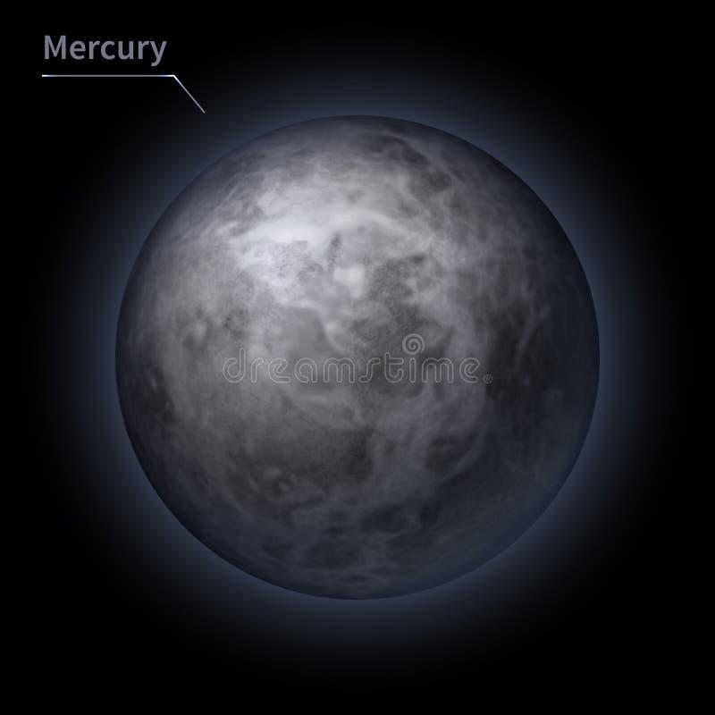 El planeta realista de Mercury se aísla en el cielo cósmico en la oscuridad de la galaxia stock de ilustración