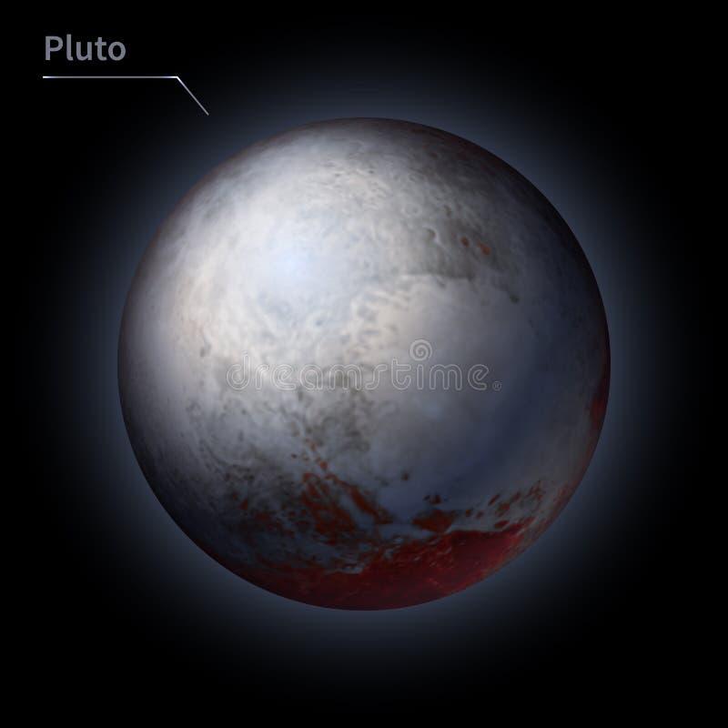 El planeta realista de Plutón se aísla en el cielo cósmico en la oscuridad de la galaxia ilustración del vector
