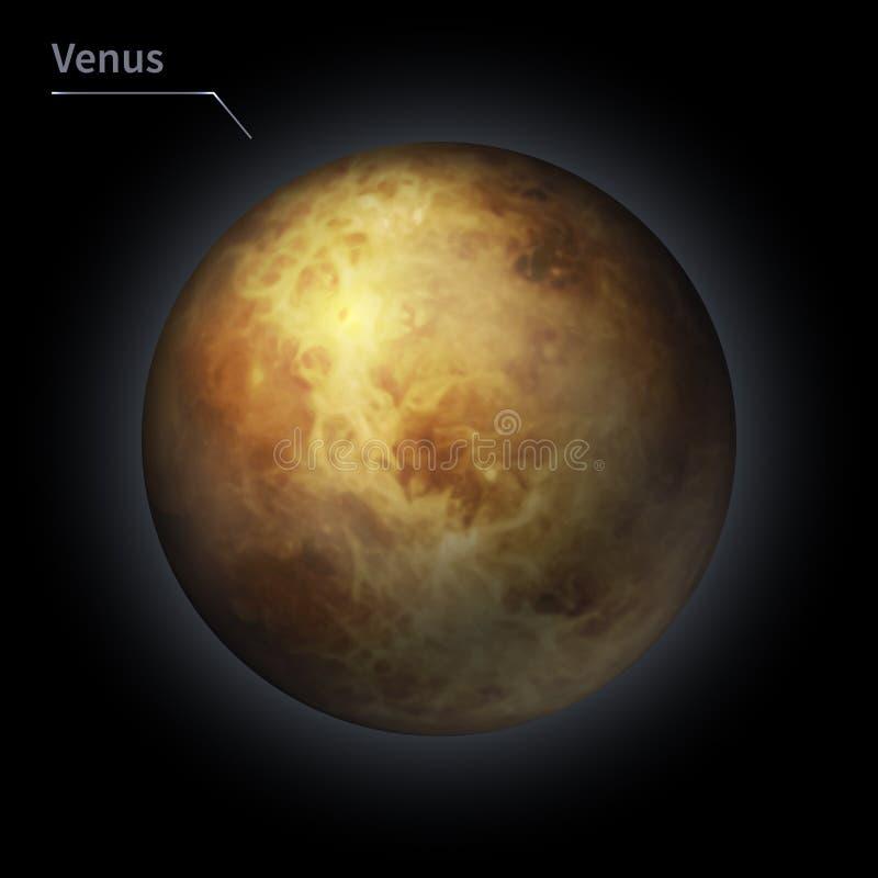 El planeta realista de Venus se aísla en el cielo cósmico en la oscuridad de la galaxia stock de ilustración
