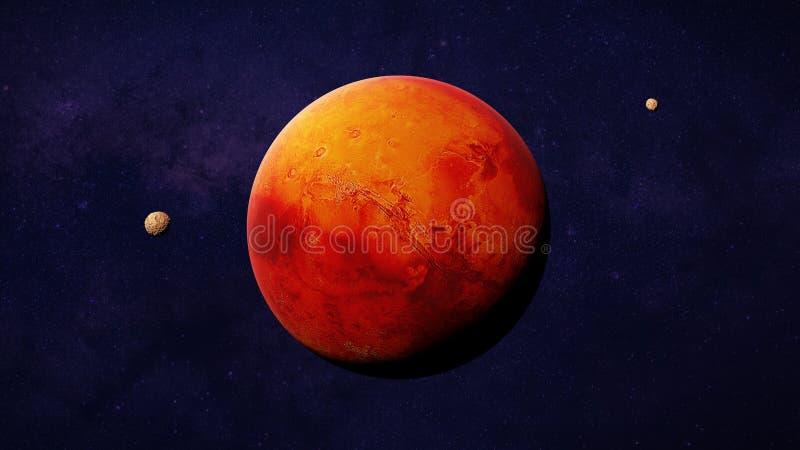 El planeta rojo Marte con él está en la luna Phobos y Deimos, parte del ejemplo del espacio de la Sistema Solar 3d, elementos de  ilustración del vector