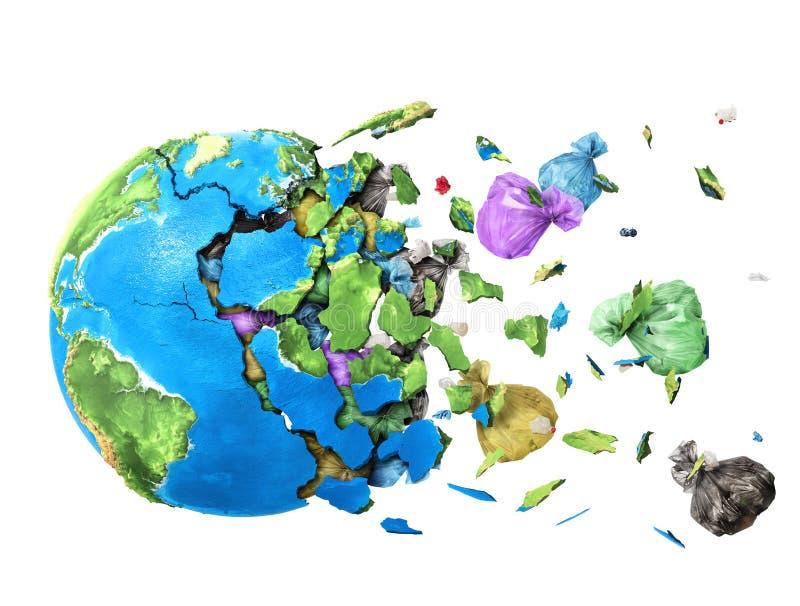 El planeta rompe en los cascos y la basura cae de ella libre illustration