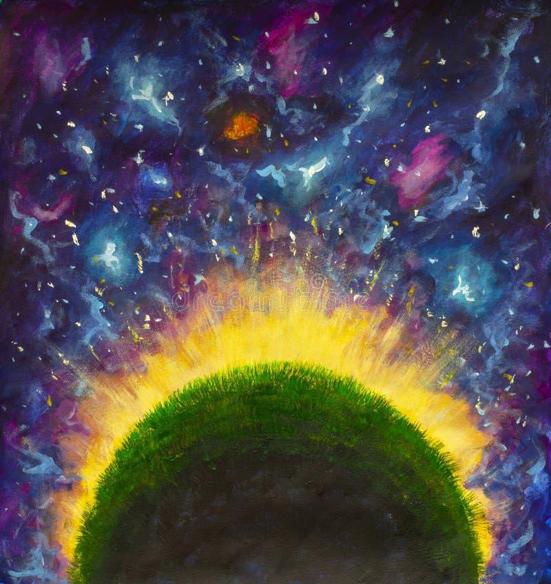 El planeta verde que brilla intensamente del pequeño príncipe en espacio púrpura stock de ilustración