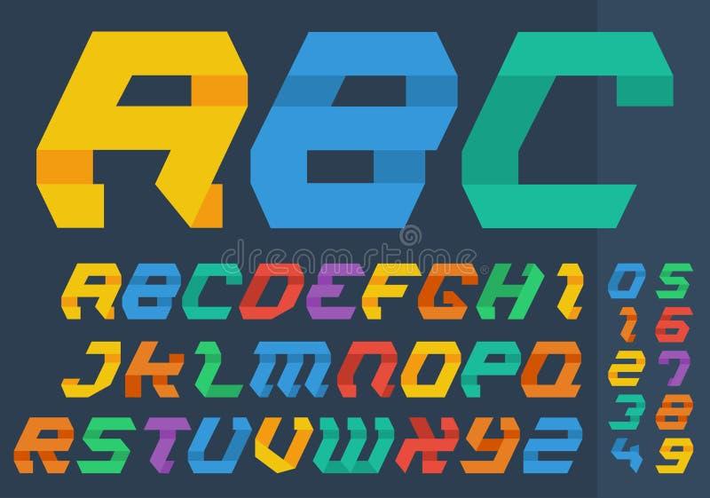 El plano abstracto dobló letras y números coloridos del alfabeto del estilo de papel libre illustration