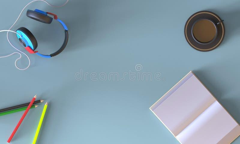 El plano creativo pone espacio de trabajo con el lápiz, libro, auriculares, café, stock de ilustración
