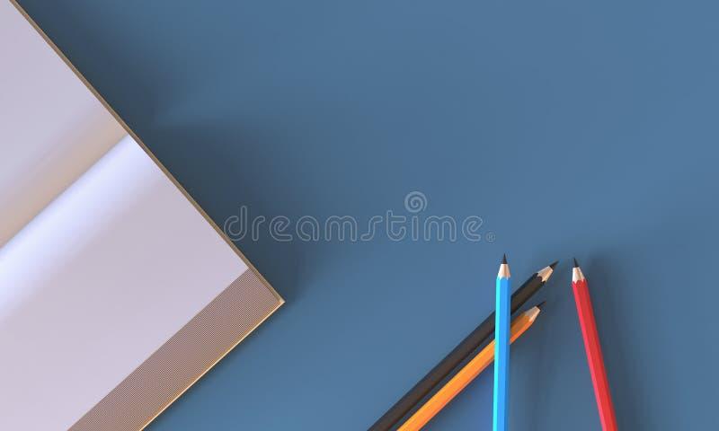 El plano creativo pone espacio de trabajo con el libro, lápiz en la tabla ilustración del vector