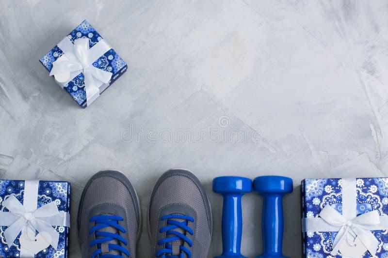 El plano del deporte de la fiesta de cumpleaños de la Navidad del día de fiesta pone la composición imagen de archivo libre de regalías