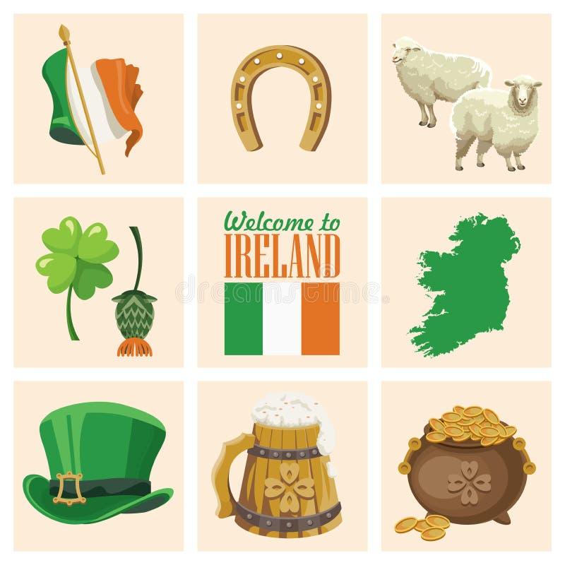El plano del vector de Irlanda fijó con las señales, castillo irlandés, campos verdes stock de ilustración