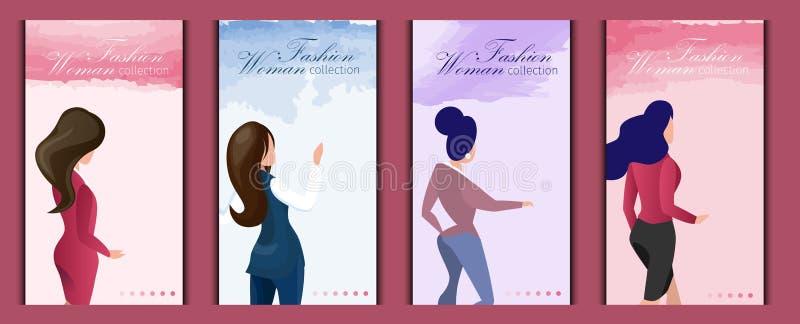 El plano fijó la colección en línea de la mujer de la moda de la tienda ilustración del vector