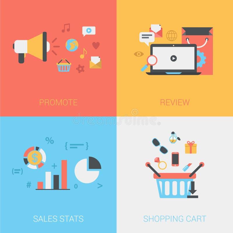El plano promueve, las mercancías del comentario, ventas stats, vector del carro de la compra libre illustration