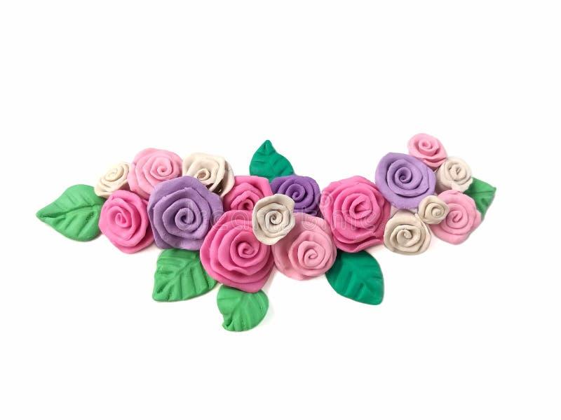 El plasticine hermoso de la flor del ramo, subió pasta de la arcilla imagen de archivo libre de regalías