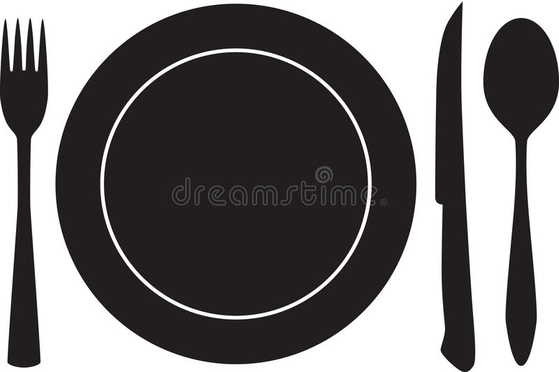 El Plateful, la fork, la cuchara y el cuchillo siluetean vector ilustración del vector