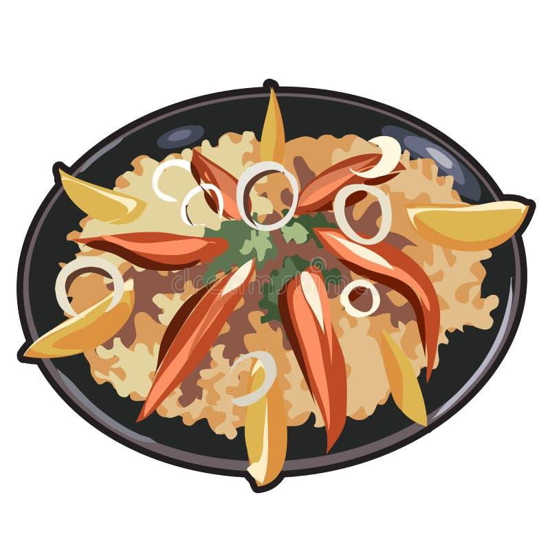 El plato apetitoso para el menú, el sitio web y otro necesita ilustración del vector