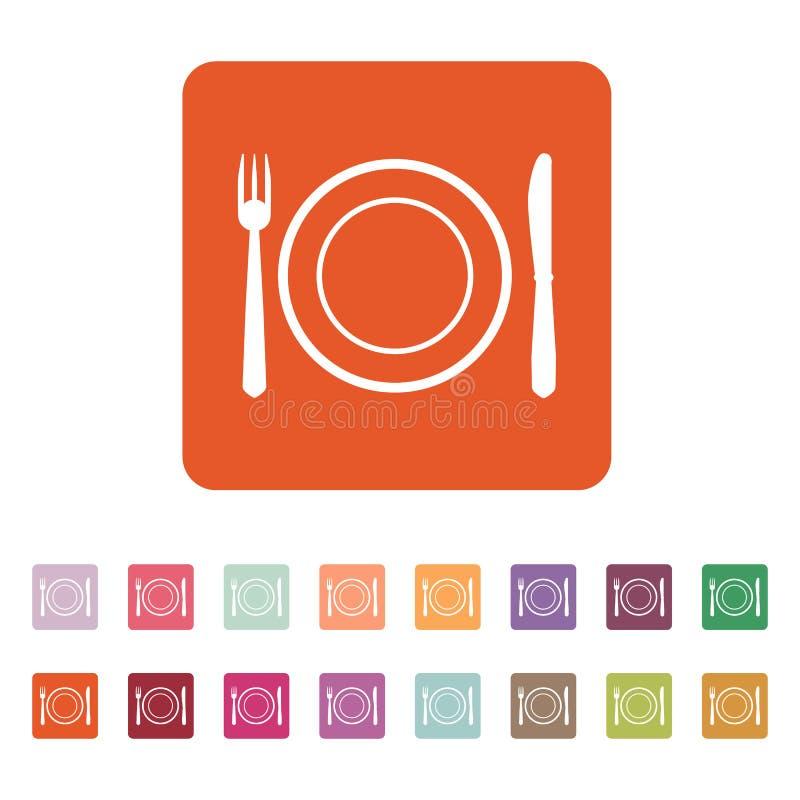 El plato de la placa con el icono de la bifurcación y del cuchillo ilustración del vector