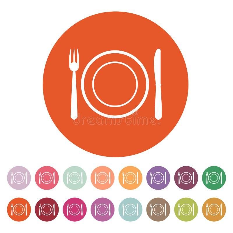 El plato de la placa con el icono de la bifurcación y del cuchillo stock de ilustración