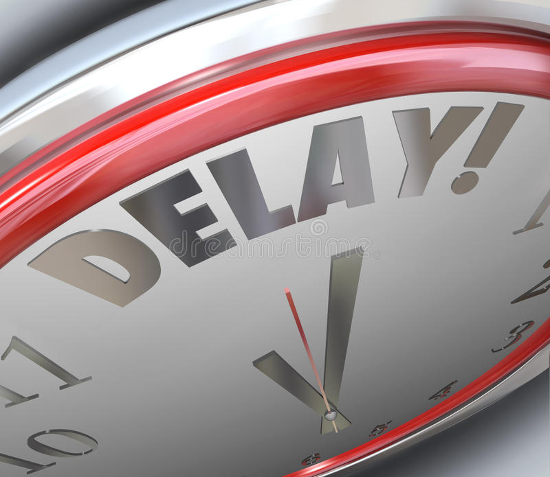 El plazo del tiempo de palabra del reloj del retraso pasajero faltó la deuda echada atrás stock de ilustración