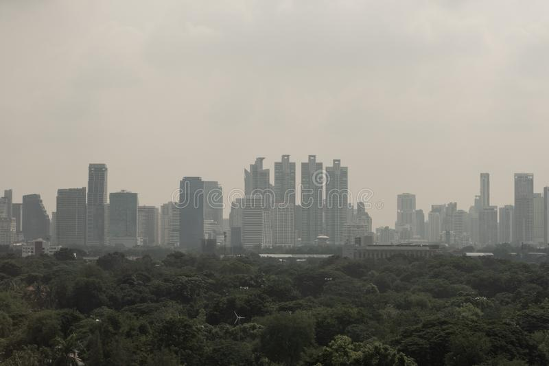 El PM 2. 5 contaminación en Bangkok, Tailandia, 1 de octubre de 2019 fotografía de archivo libre de regalías