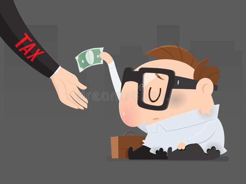 El pobre hombre debe pagar impuestos todavía ilustración del vector