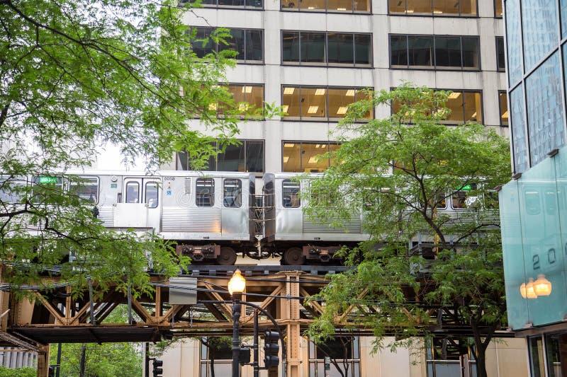 El pociąg Za drzewami w Chicago obraz stock