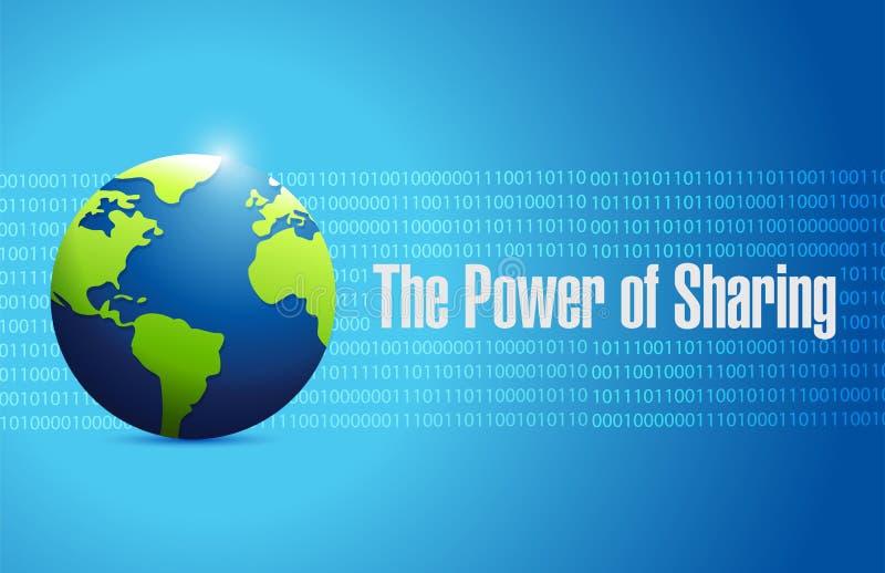 el poder de compartir el globo de la gente ilustración del vector