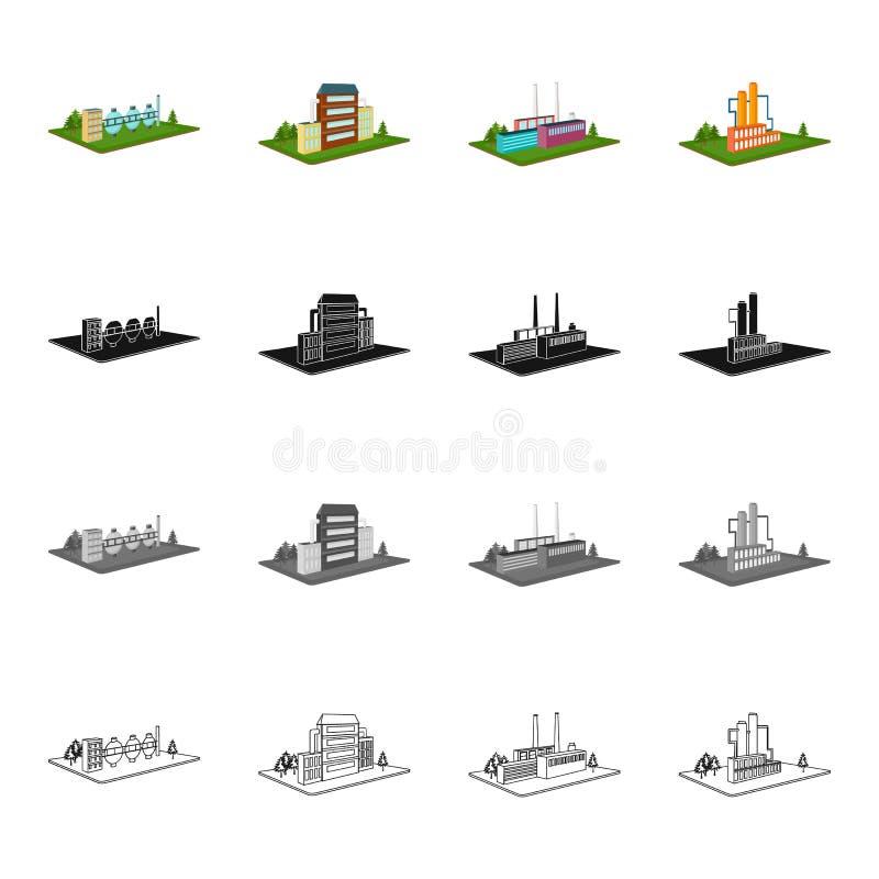 El poder, la planta, la organización, y el otro icono del web en estilo de la historieta Metales, territorio, iconos de la indust libre illustration