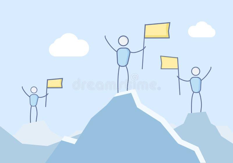 El podio hecho de la montaña remata con 3 montañeses que demandan sus victorias Ilustración del vector stock de ilustración