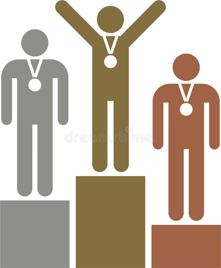 El podium de los ganadores stock de ilustración
