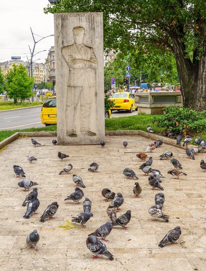 El poeta y las palomas en Budapest imagen de archivo