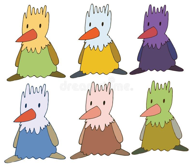 El pollo del color del garabato de la historieta de la impresión fijó drenaje de la mano del monstruo stock de ilustración