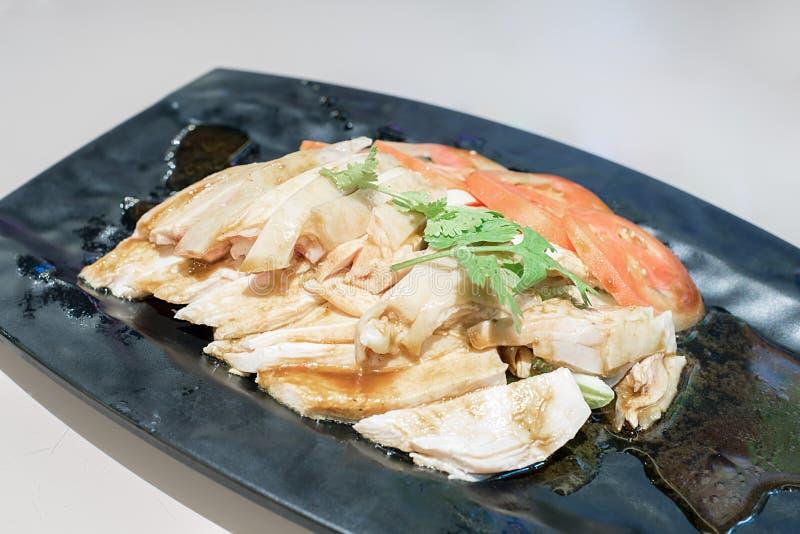El pollo del vapor para come con arroz imágenes de archivo libres de regalías