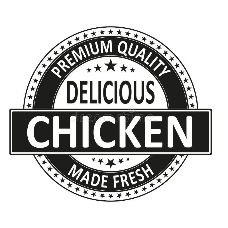 El pollo delicioso de la calidad superior hizo el sello fresco de la insignia stock de ilustración