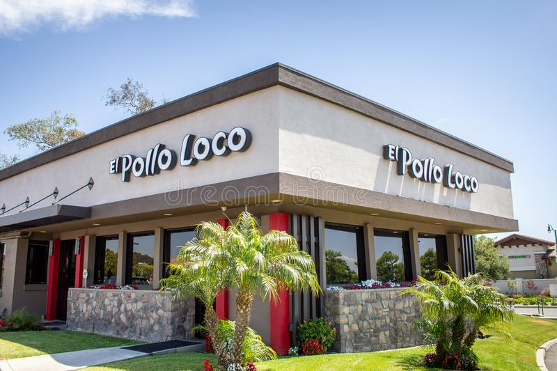 El Pollo Loco sign. A store front sign and building for the Mexican fast food restaurant chain known as El Pollo Loco, located in Lake Forest, California royalty free stock photo