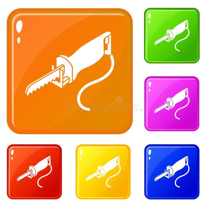 El polo el?ctrico vio color fijado los iconos del vector libre illustration