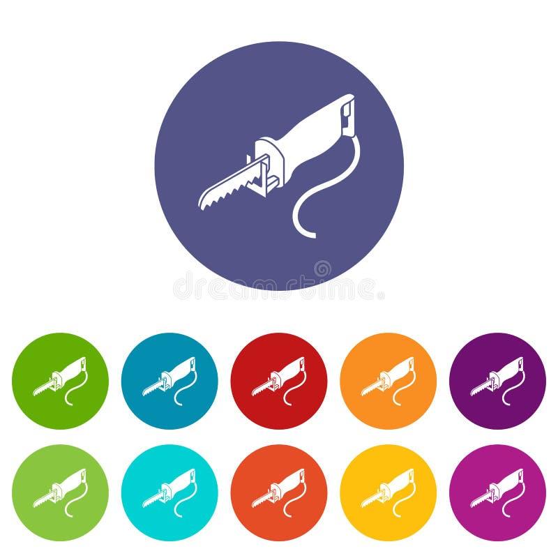 El polo eléctrico vio color fijado los iconos del vector ilustración del vector