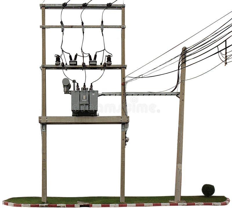 El polo eléctrico y el transformador eléctrico foto de archivo libre de regalías