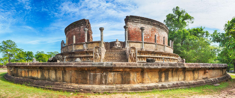 El Polonnaruwa Vatadage Panorama imágenes de archivo libres de regalías