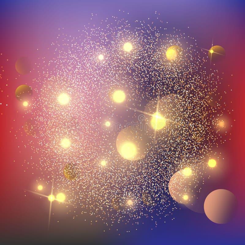 El polvo de estrella luminoso chispeante de las estrellas del oro del fondo chispea en la explosión en fondo negro Efecto de las  stock de ilustración