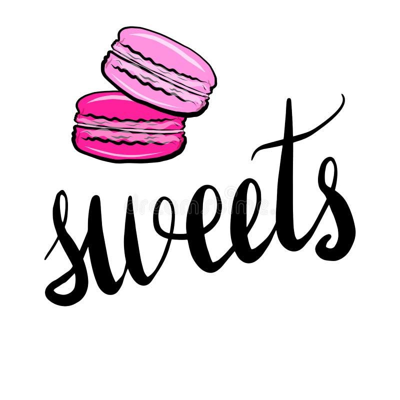 El poner letras con los dulces de la inscripción ilustración del vector