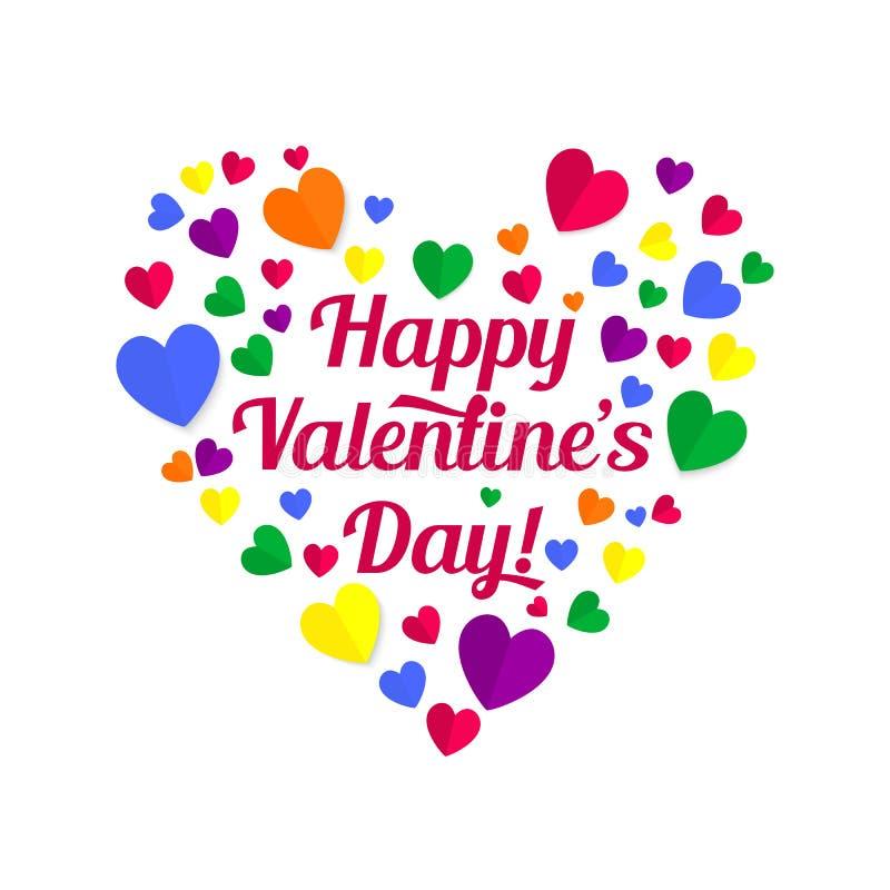 El poner letras de las tarjetas del día de San Valentín stock de ilustración