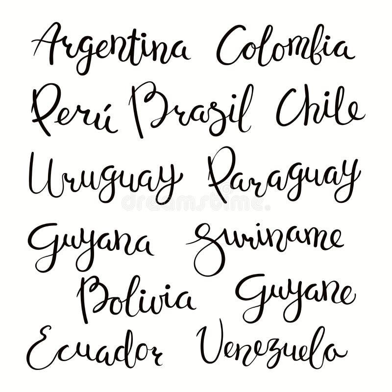 El poner letras de los países suramericanos stock de ilustración